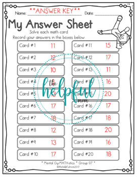 Mental Gy-MATH-stics - Math fact task cards *SAMPLE* (B & W and LOW PREP!)