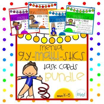 Mental Gy-MATH-stics - Task Cards - BUNDLE (B & W and LOW PREP!)