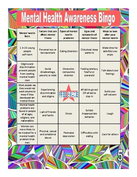 Mental Health Awareness Bingo by Perfect's Products | TpT