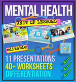 Mental Health - 11 hour unit - anxiety, stress, depression, self esteem + more!