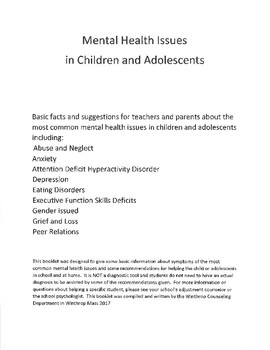 Mental Health Issues in Children and Adolescents - facts and guide
