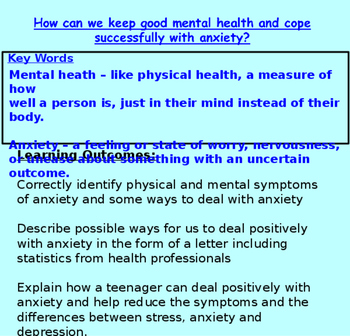Mental Health 'Keeping good mental health 3 - Anxiety ' (1hr PP, worksheets,