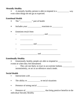 Mental Health Notes Outline Lesson Plan