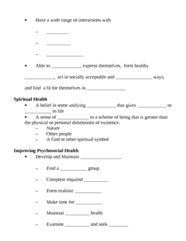 Mental Health Notes Outline Lesson Plan by Lisa Michalek | TpT