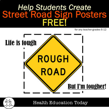 Mental Health Street Signs Art Project FREE: Back to School Activity for 6-12th!