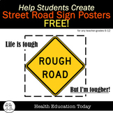 Mental Health Street Signs Art Project - 59 Sign Templates for 6-12th! FREE!