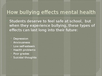 Mental Health and Bullying Powerpoint Lesson