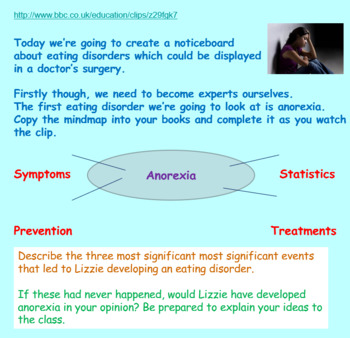 Mental Health and Eating Disorders (1hr lesson PP, worksheets, clips)