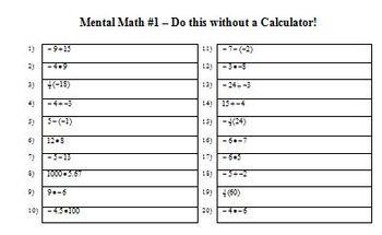 Mental Math 01 (Editable)
