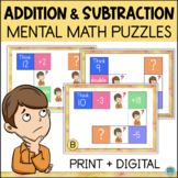 Mental Math Puzzles | Addition and Subtraction Task Cards w/ DIGITAL OPTION