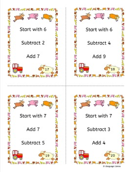 Mental Math Addition and Subtraction Task Cards