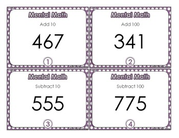 Mental Math 2nd Grade Task Cards- FREEBIE
