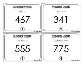 Mental Math 2nd Grade Task Cards- FREEBIE