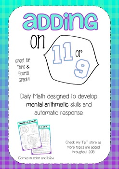 Mental Math 3: Adding on 11 or 9