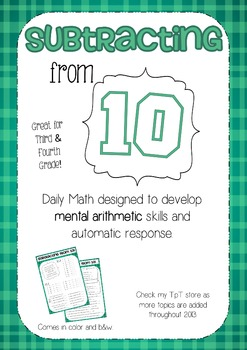 Mental Math 4: Subtracting from 10