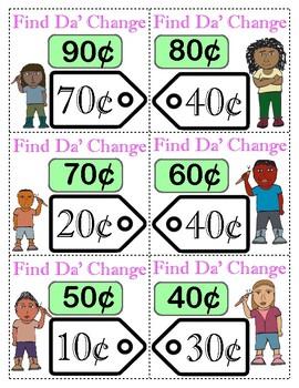 Find Da' Change: A Mental Math Change Game for 2nd, 3rd & 4th graders