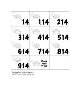 Mental Math Activity Cards +/-100
