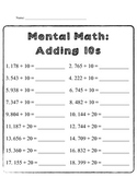 Mental Math: Adding 10s and 100s
