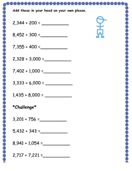 Mental Math - Adding to a number in the thousands worksheet 2