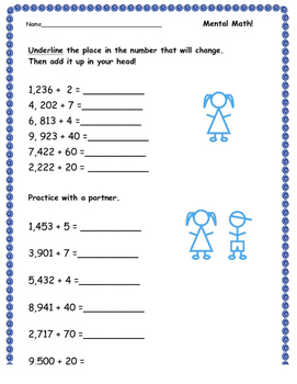 Mental Math - Adding to a number in the thousands worksheet
