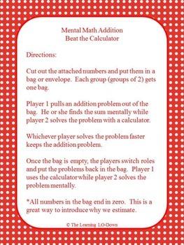 Mental Math Addition Game