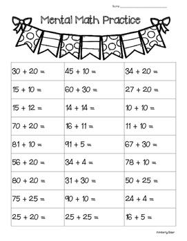 Mental Math Addition Practice Worksheet--2-digit