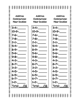 Mental Math Addition/Subtraction Combinations