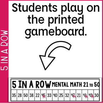 Mental Math Addition Within 100 5 in a Row: 4 No Prep Games & Powerpoints