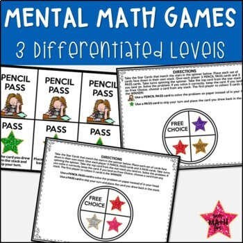Mental Math - Addition and Subtraction - Differentiated Task Cards - Games