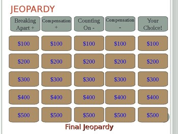 Mental Math Addition and Subtraction Jeopardy Review