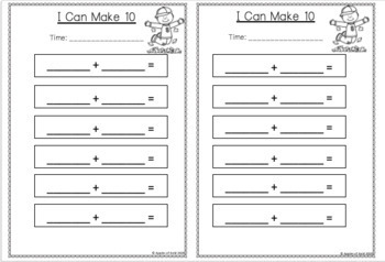 Mental Math Addition to 20 Print and Go Pack- Fall Theme