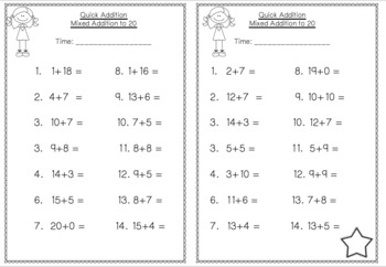 Mental Math Addition to 20 Print and Go Pack