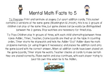 Mental Math Addition to 5 President's Day Fact Fluency