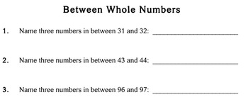 Mental Math (Between Whole Numbers), 3rd grade worksheets - Individualized Math