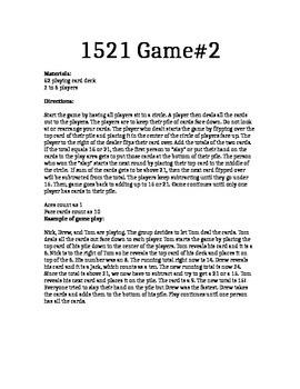 Mental Math Card Game, 1521