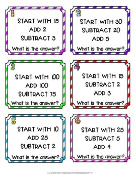 Mental Math Cards: 36 Addition & Subtraction Mental Math Cards