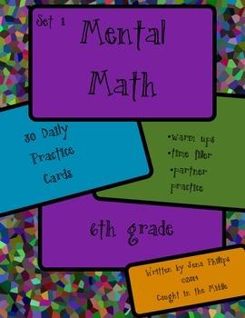 Mental Math Cards Set 1