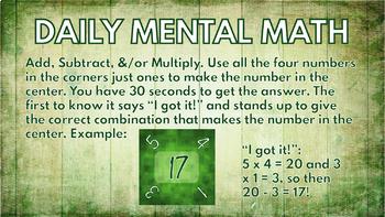 Mental Math Challenges Google Slides (4 Make It Game Version) No Prep-Paperless