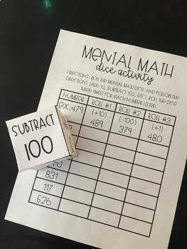 Mental Math Dice Activity - Adding/Subtracting 1, 10, or 100