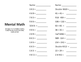 Mental Math Doubles, Doubles Plus One and Doubles Plus Two