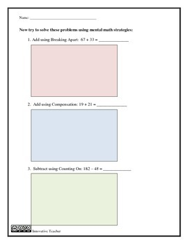 Mental Math Duo - Assessment and Worksheet