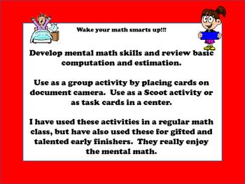 Mental Math/ Number Sense:  Estimation, compatibles:  Wake your Math Brain UP!!!