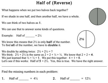 Mental Math (Finding Half), 2nd grade - Individualized Math - worksheets