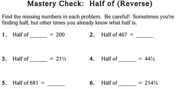 Mental Math (Finding Half), 3rd grade - worksheets - Individualized Math