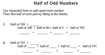 Mental Math (Finding Half), 3rd grade - worksheets - Individualized Math