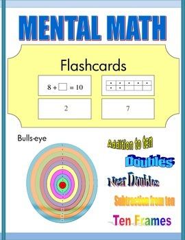 Mental Math Flashcards: bull's eye, doubles, near doubles, ten frames)
