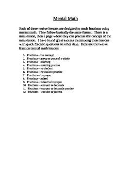 Mental Math - Fractions