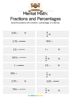 Mental Math - Fractions and Percentages 1