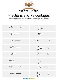 Fractions: Mental Math - Fractions and Percentages 2
