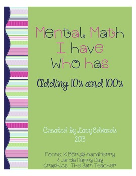 Mental Math I have/Who has Addition